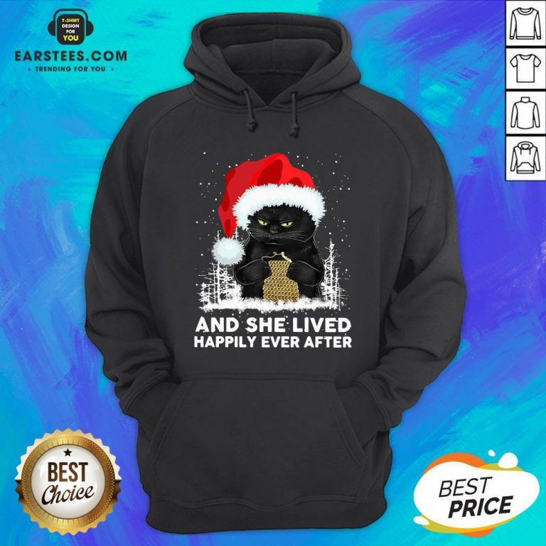 Official Black Cat And She Lived Happily Ever After Christmas Hoodie - Design By Earstees.com