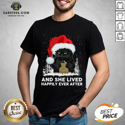 Official Black Cat And She Lived Happily Ever After Christmas Shirt - Design By Earstees.com