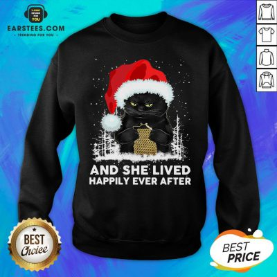 Official Black Cat And She Lived Happily Ever After Christmas Sweatshirt - Design By Earstees.com