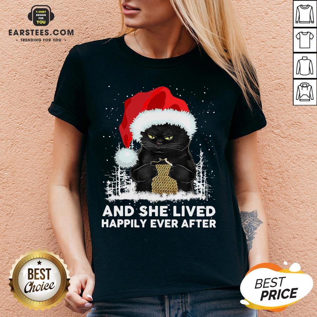 Official Black Cat And She Lived Happily Ever After Christmas V-neck - Design By Earstees.com