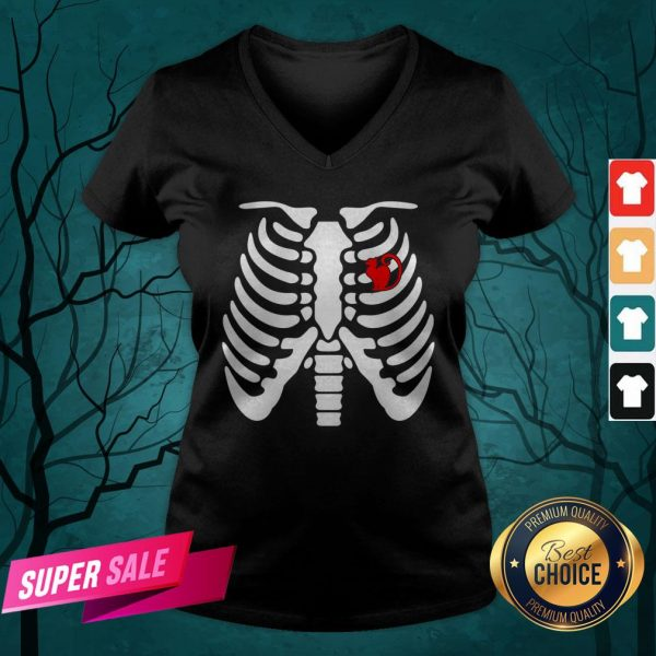 Official Halloween Day Skeleton Cat V-neck