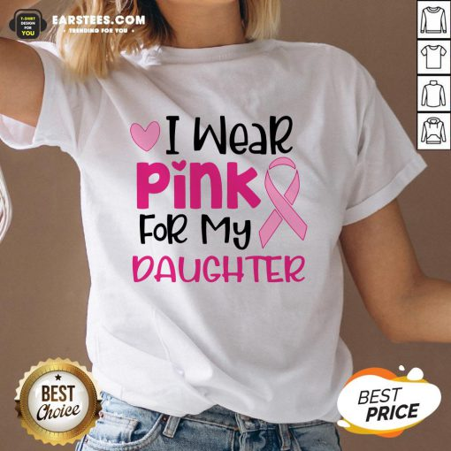 Official I Wear Pink For My Daughter V-neck - Design By Earstees.com