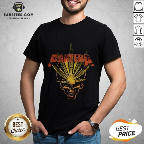Official Pantera Weed Leaf Skull T-Shirt - Design By Earstees.com