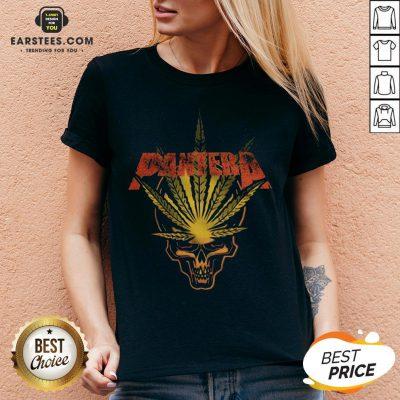 Official Pantera Weed Leaf Skull V-neck - Design By Earstees.com