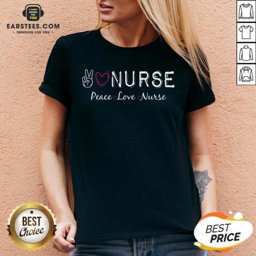Official Peace Love Nurse V-neck - Design By Earstees.com