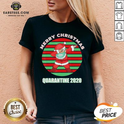 Official Santa Claus Dabbing Face Mask Merry Christmas Quarantine 2020 Vintage V-neck - Design By Earstees.com