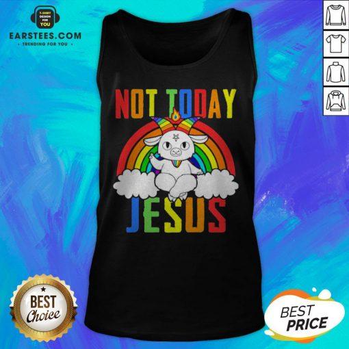 Official Unicorn Satan Not Today Jesus LGBT Tank Top