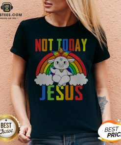 Official Unicorn Satan Not Today Jesus LGBT V-neck