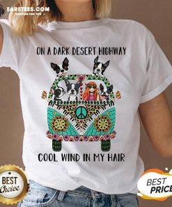 Original Boston Terrier And Hipper Girl On A Dark Desert Highway Cool Wind In My Hair V-neck - Design By Earstees.com