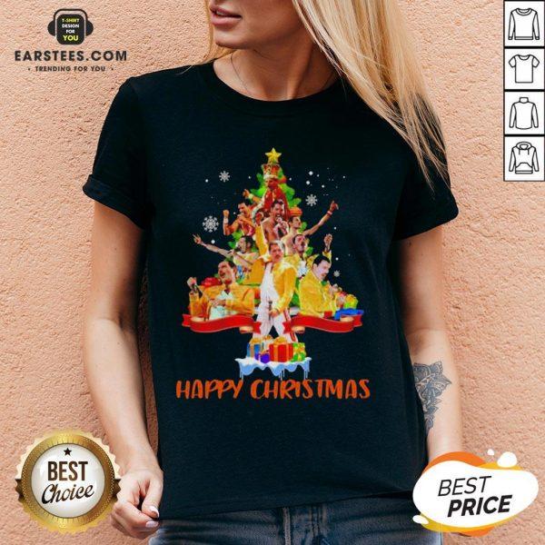 Original Freddie Mercury Happy Christmas Tree V-neck - Design By Earstees.com