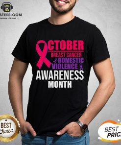 Original October Breast Cancer And Domestic Violence Awareness Month T-Shirt - Design By Earstees.com