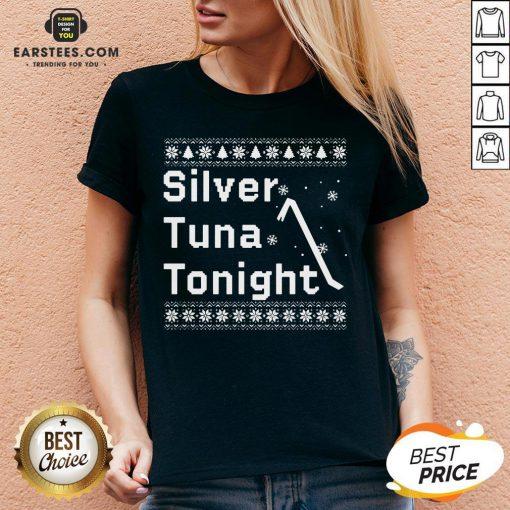 Original Silver Tuna Tonight Christmas V-neck - Design By Earstees.com