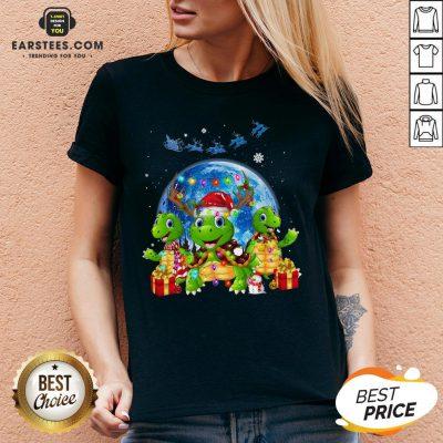 Original Turtles Reindeer Santa Merry Christmas V-neck - Design By Earstees.com