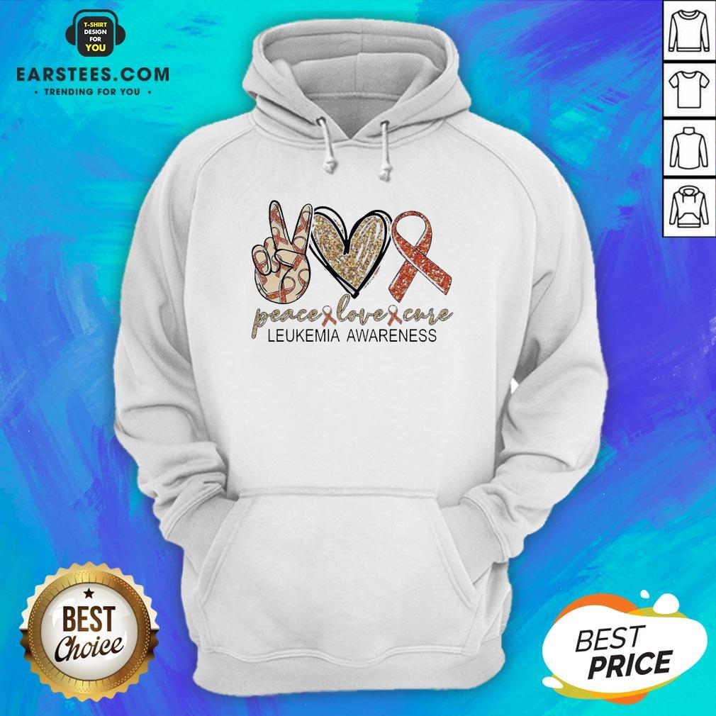 Peace Love Cure Leukemia Awareness Diamond Hoodie - Design By Earstees.com