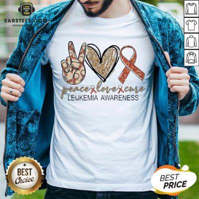 Peace Love Cure Leukemia Awareness Diamond Shirt - Design By Earstees.com