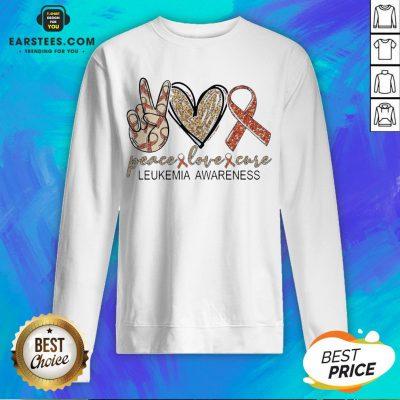 Peace Love Cure Leukemia Awareness Diamond Sweatshirt - Design By Earstees.com