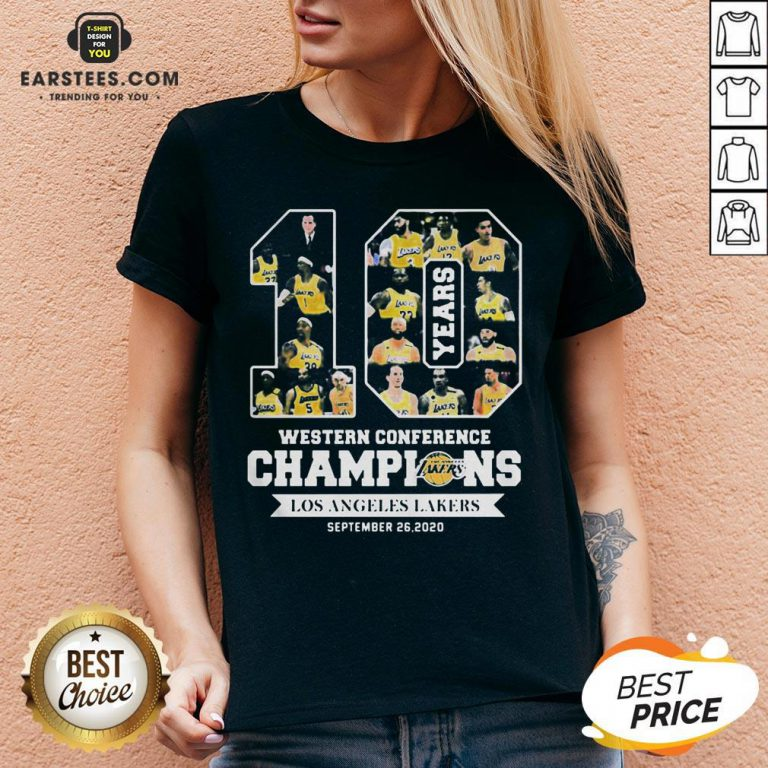 Perfect 10 Years Western Conference Champions Los Angeles Lakers September 26 2020 V-neck - Design By Earstees.com