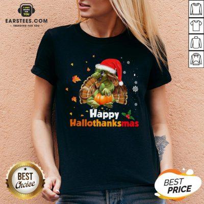 Perfect Dragon Happy Hallothanksmas V-neck - Design By Earstees.com