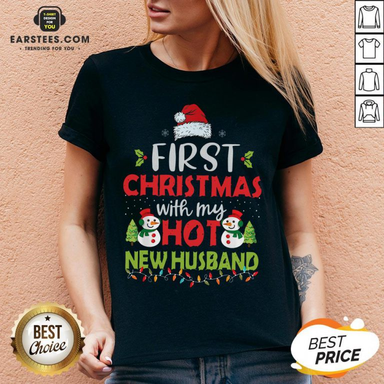 Premium First Christmas With My Hot New Husband V-neck - Design By Earstees.com