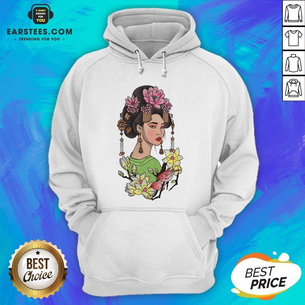 Premium Girl Flowers Bird Vignette Hoodie - Design By Earstees.com