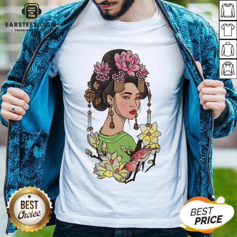 Premium Girl Flowers Bird Vignette Shirt - Design By Earstees.com