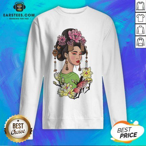Premium Girl Flowers Bird Vignette Sweatshirt - Design By Earstees.com