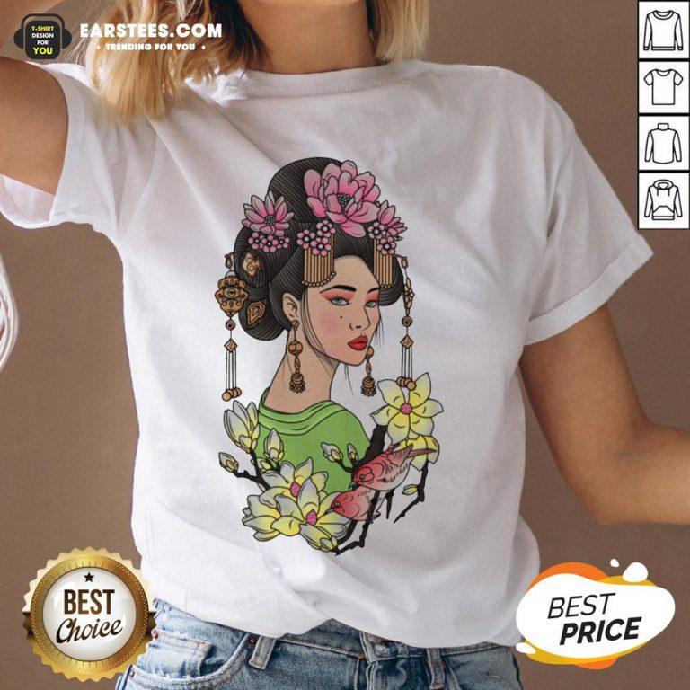 Premium Girl Flowers Bird Vignette V-neck - Design By Earstees.com