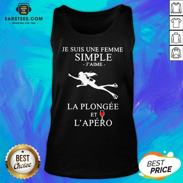 Premium Scuba Diving Je Suis Une Femme Simple J'aime La Plongée Et L'apéro Tank Top - Design By Earstees.com
