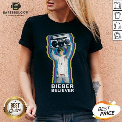 Pretty Bieber Believer Merch Boombox 2020 V-neck - Design By Earstees.com