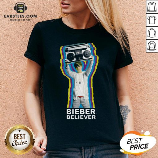 Pretty Bieber Believer Merch Boombox 2020 V-neck - Design By Earstees.com