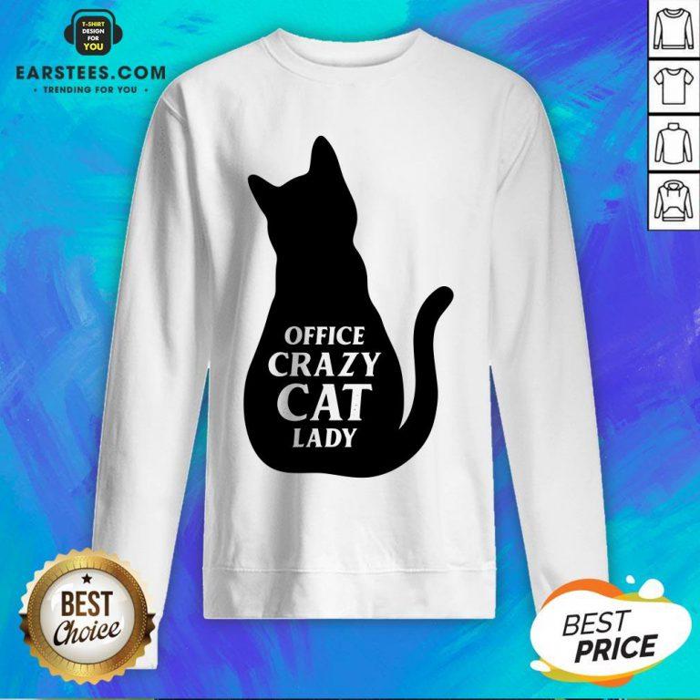 Pretty Black Cat Office Crazy Cat Lady Sweatshirt - Design By Earstees.com
