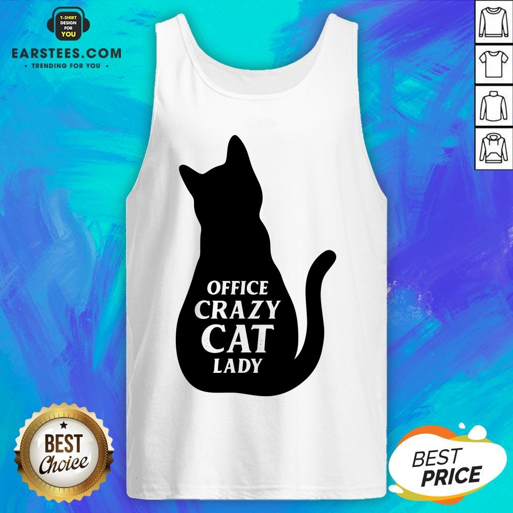 Pretty Black Cat Office Crazy Cat Lady Tank Top - Design By Earstees.com