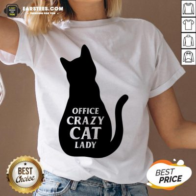 Pretty Black Cat Office Crazy Cat Lady V-neck - Design By Earstees.com