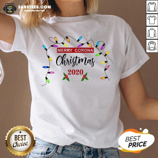 Pretty Light Merry Corona Christmas 2020 V-neck - Design By Earstees.com
