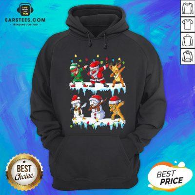 Pretty Santa Claus Gingerbread Elf Reindeer Snowman Penguin Dabbing Merry Christmas Hoodie - Design By Earstees.com
