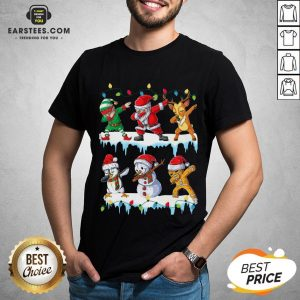 Pretty Santa Claus Gingerbread Elf Reindeer Snowman Penguin Dabbing Merry Christmas Shirt - Design By Earstees.com