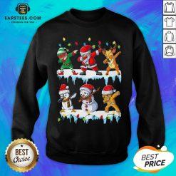 Pretty Santa Claus Gingerbread Elf Reindeer Snowman Penguin Dabbing Merry Christmas Sweatshirt - Design By Earstees.com