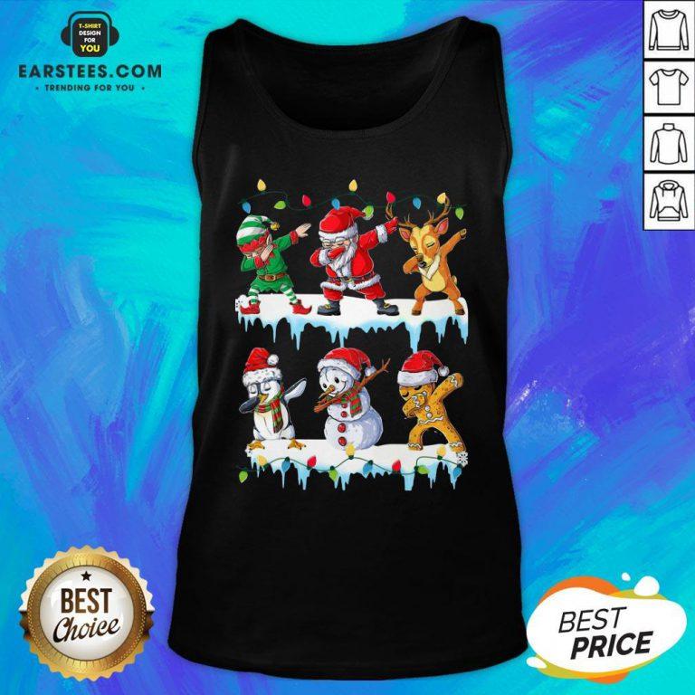 Pretty Santa Claus Gingerbread Elf Reindeer Snowman Penguin Dabbing Merry Christmas Tank Top - Design By Earstees.com