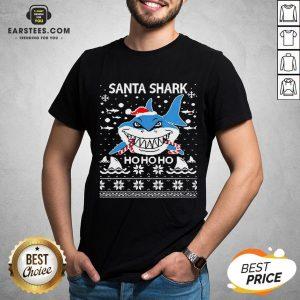 Pretty Santa Shark Ho Ho Ho Christmas Shirt - Design By Earstees.com