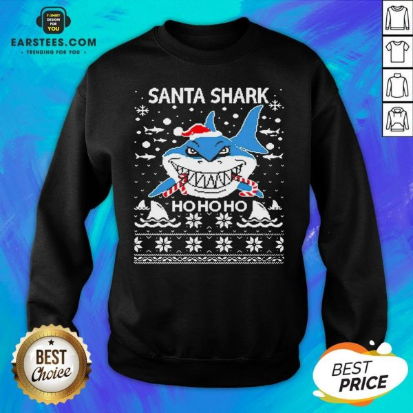 Pretty Santa Shark Ho Ho Ho Christmas Sweatshirt - Design By Earstees.com