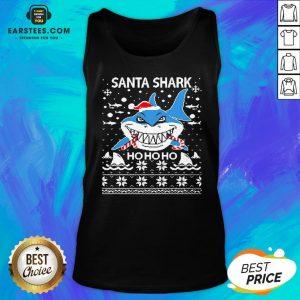 Pretty Santa Shark Ho Ho Ho Christmas Tank Top - Design By Earstees.com