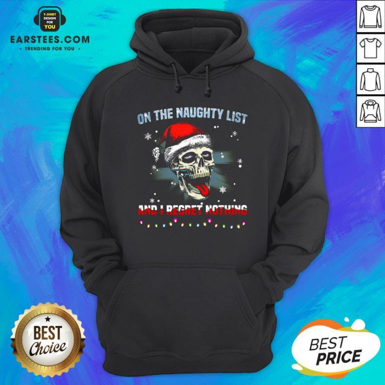 Pretty Satan Skull On The Naughty List And I Regret Nothing Hoodie - Design By Earstees.com