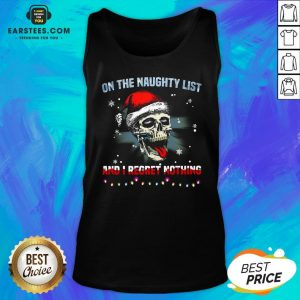 Pretty Satan Skull On The Naughty List And I Regret Nothing Tank Top - Design By Earstees.com
