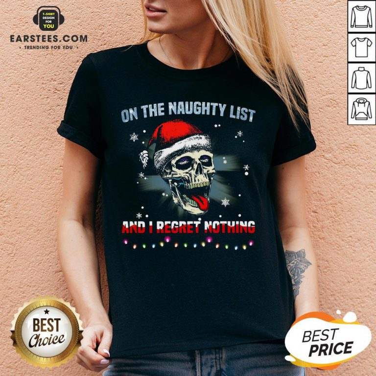 Pretty Satan Skull On The Naughty List And I Regret Nothing V-neck - Design By Earstees.com