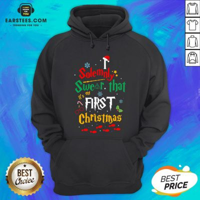 Solemnly Swear It's My That First Christmas Hat Santa Hoodie - Design By Earstees.com