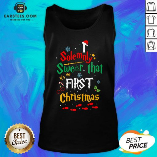 Solemnly Swear It's My That First Christmas Hat Santa Tank Top - Design By Earstees.com