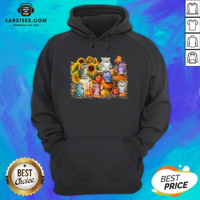 Top Owls Pumpkin Sunflower Halloween Hoodie - Design By Earstees.com