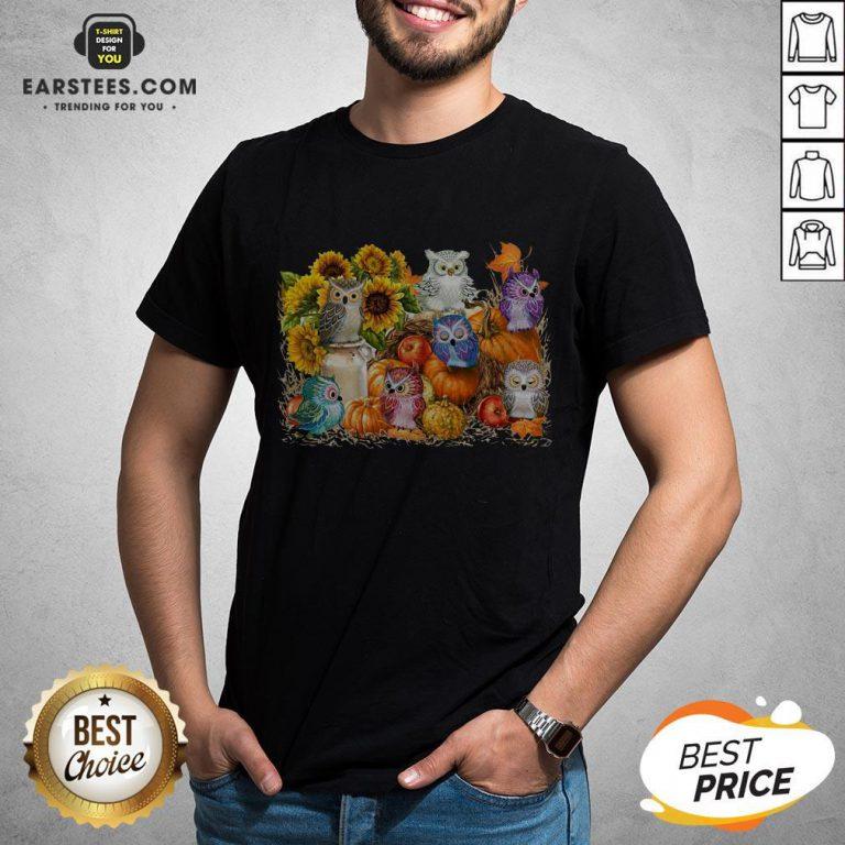 Top Owls Pumpkin Sunflower Halloween Shirt - Design By Earstees.com