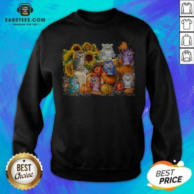 Top Owls Pumpkin Sunflower Halloween Sweatshirt - Design By Earstees.com