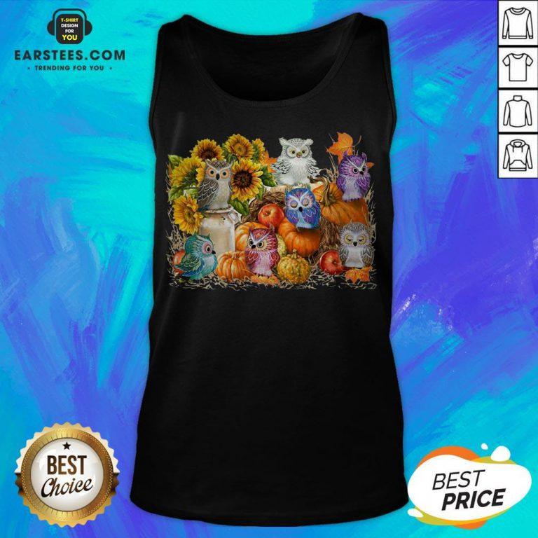 Top Owls Pumpkin Sunflower Halloween Tank Top - Design By Earstees.com